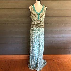 Athleta XL Blue Green Sleeveless Boho Maxi Dress
